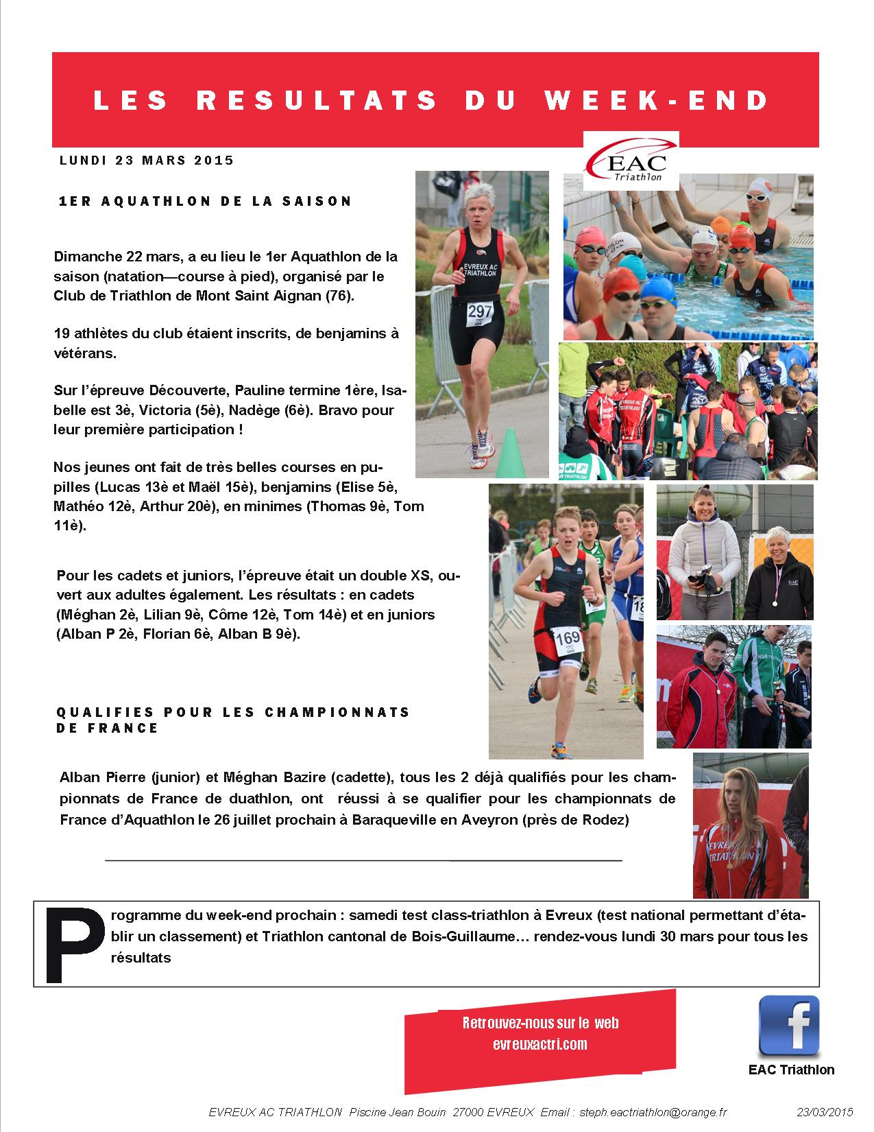 Les r sultats du we aquathlon de mont saint aignan for Piscine jean bouin evreux
