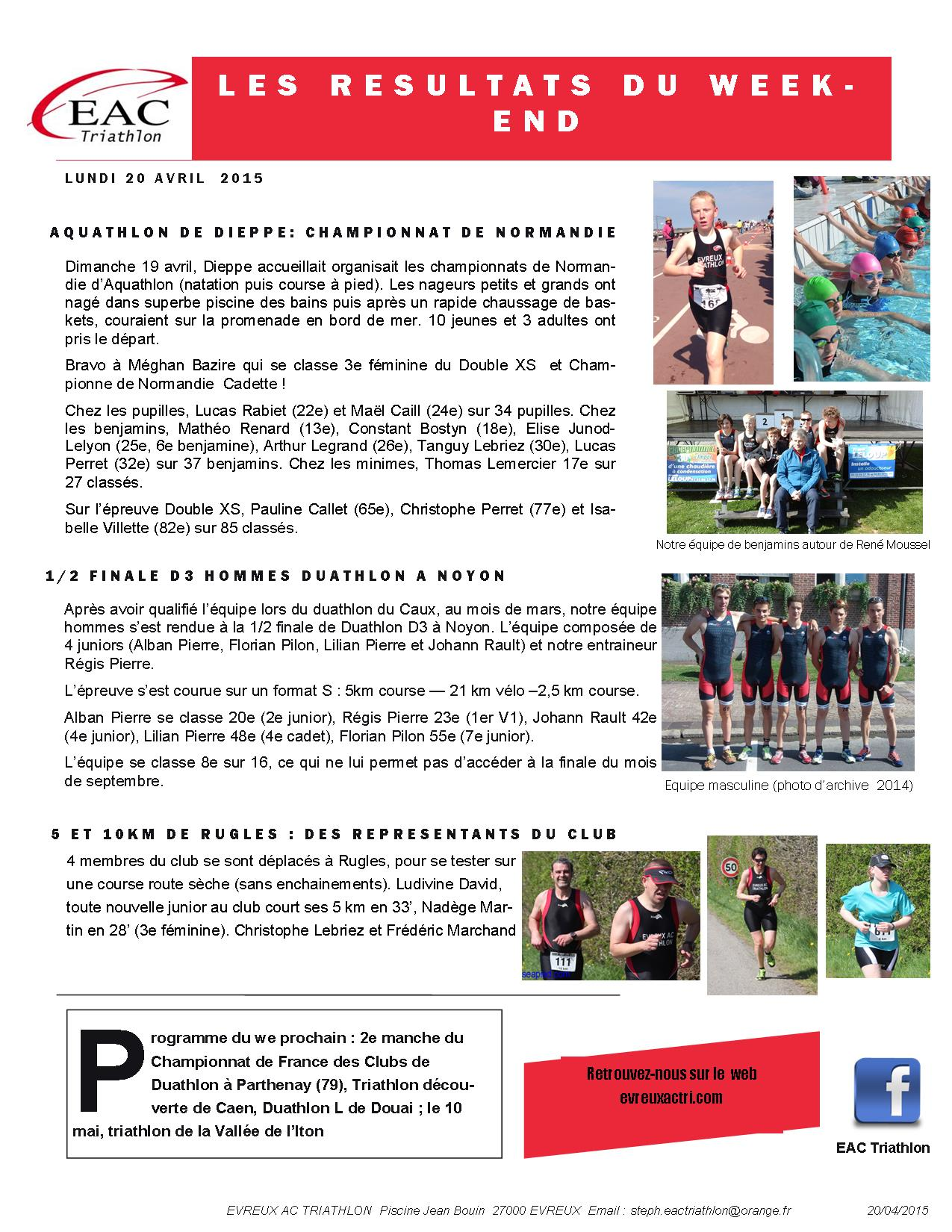 Les r sultats du week end aquathlon de dieppe noyon et for Piscine jean bouin evreux