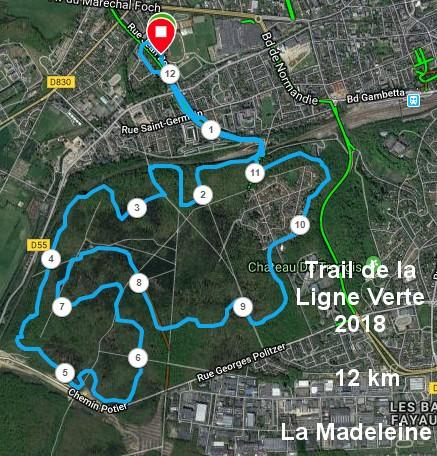 Parcours la madeleine 12 km